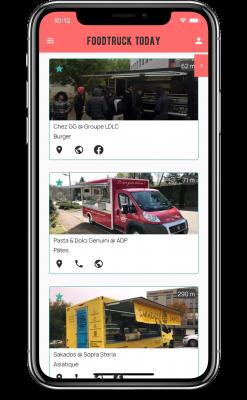 Capture écran de l'application ios et android de foodtruck today